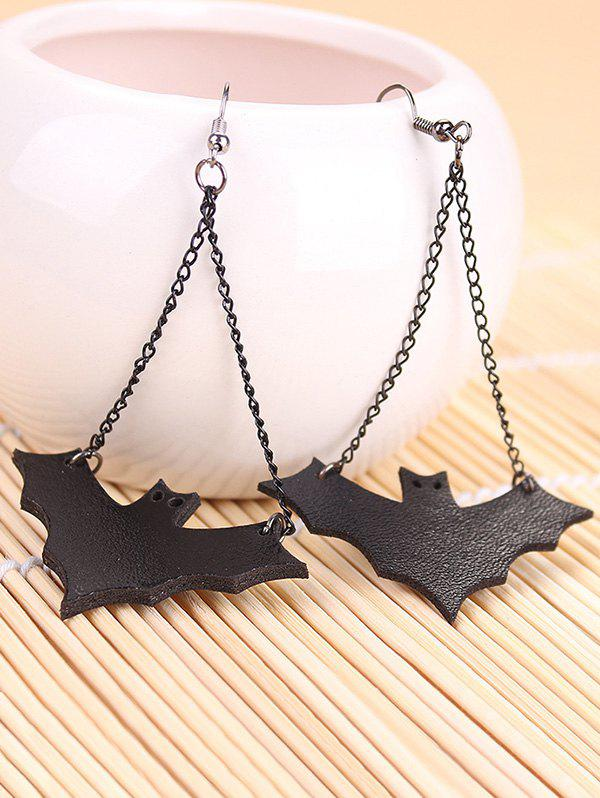 Discount Halloween Leather Bat Chain Earrings