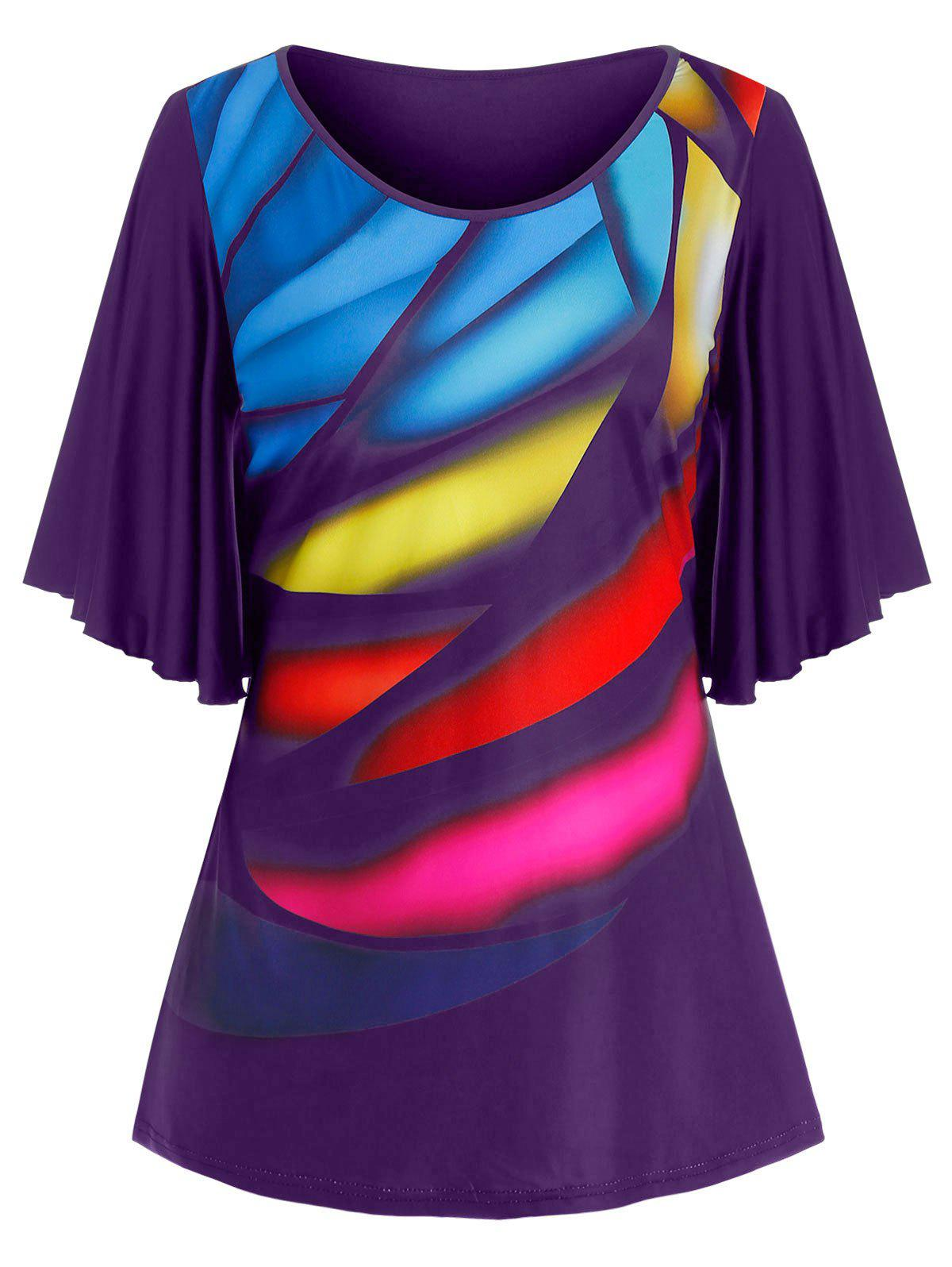 Chic Plus Size Colorful Print Butterfly Sleeve Tunic Tee