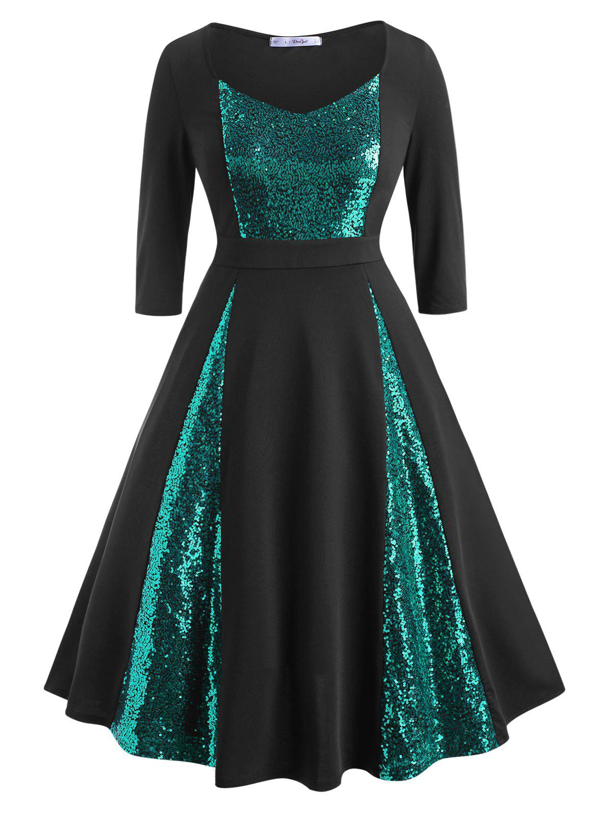 Outfit Scoop Sequins Panel Plus Size Prom Dress