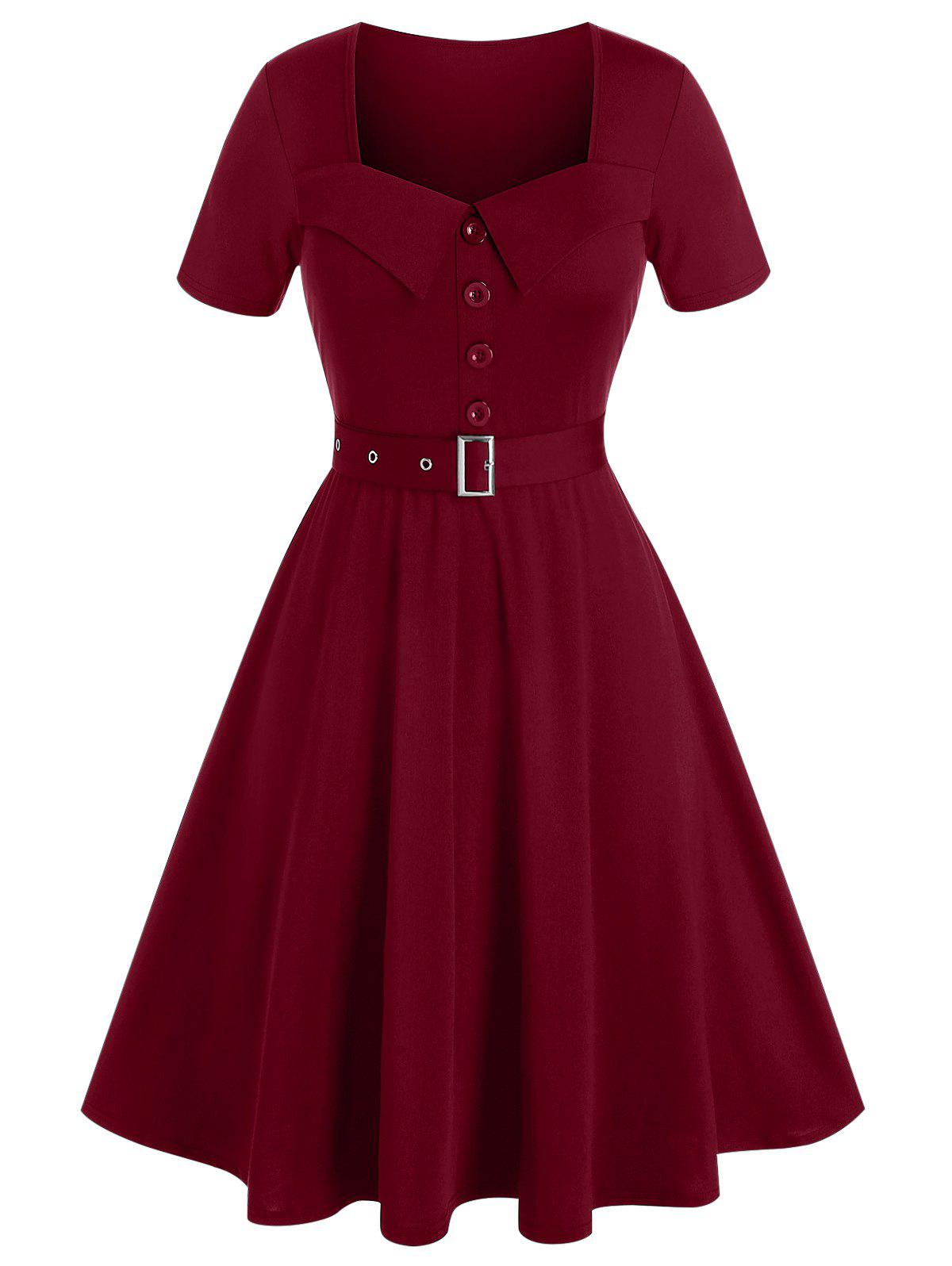 Plus Size Belted Buttoned Square Neck Vintage Dress фото
