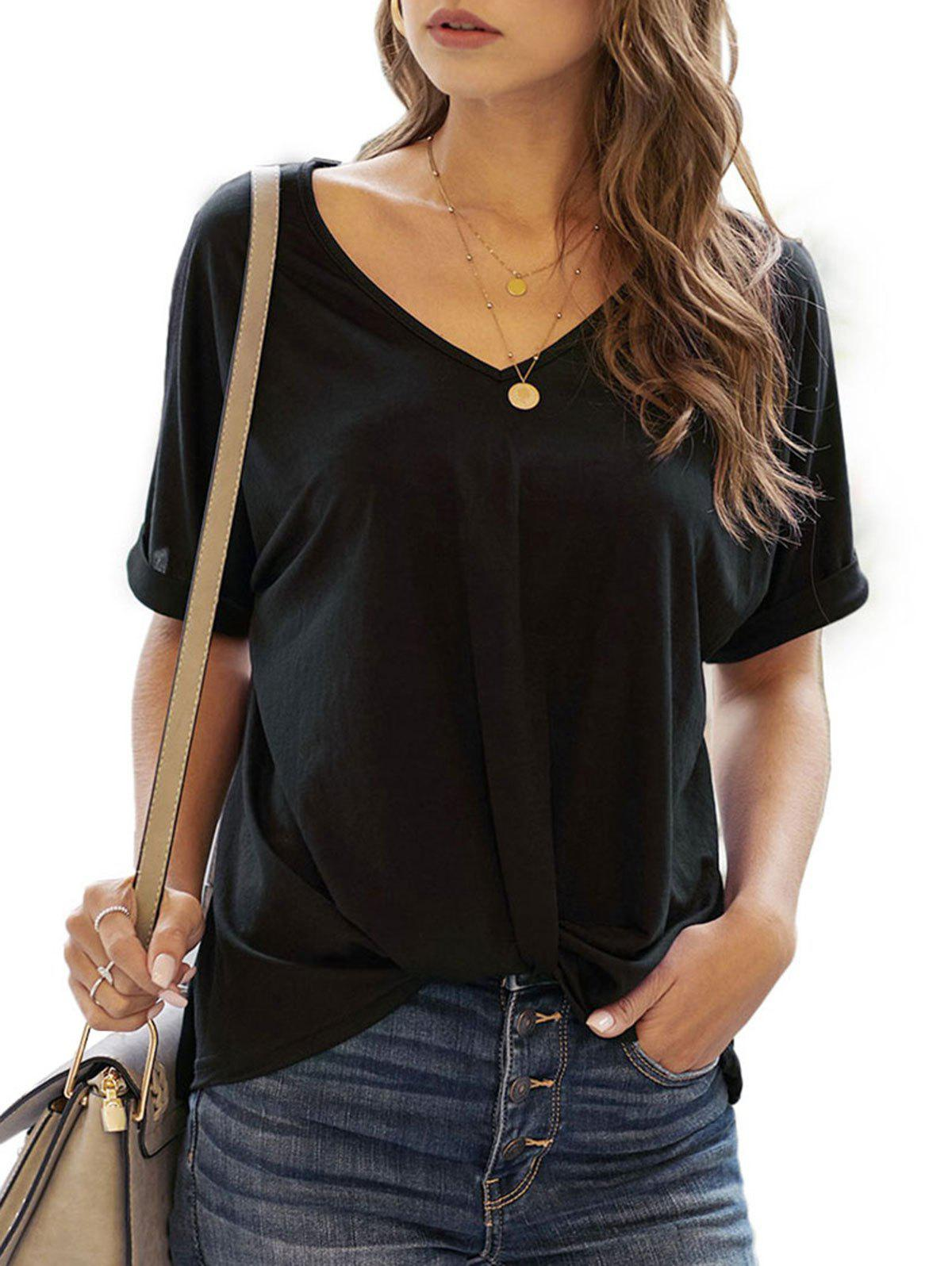 Best Twisted Hem Rolled Cuff Batwing Sleeve T-shirt