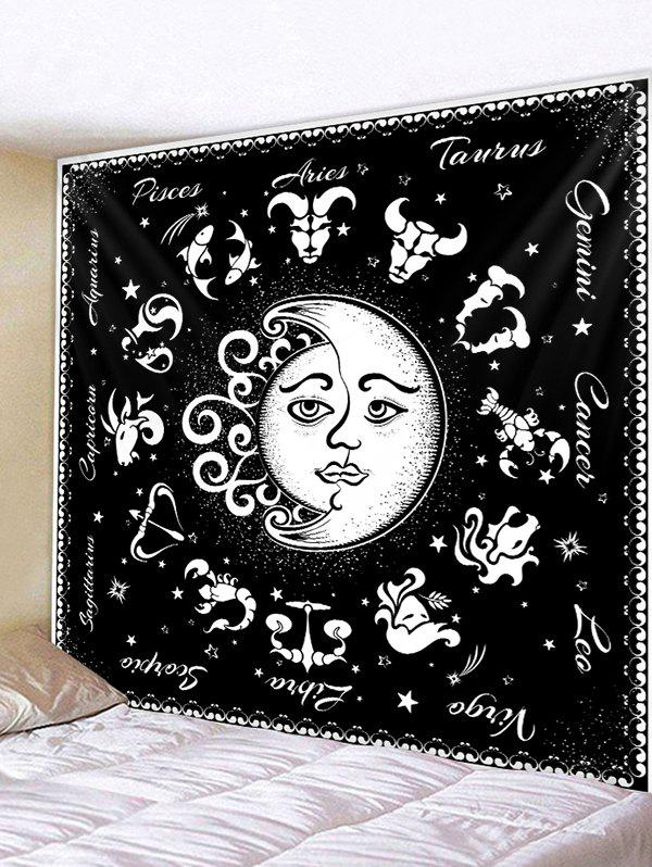 Unique Horoscope Moon And Sun Pattern Wall Tapestry