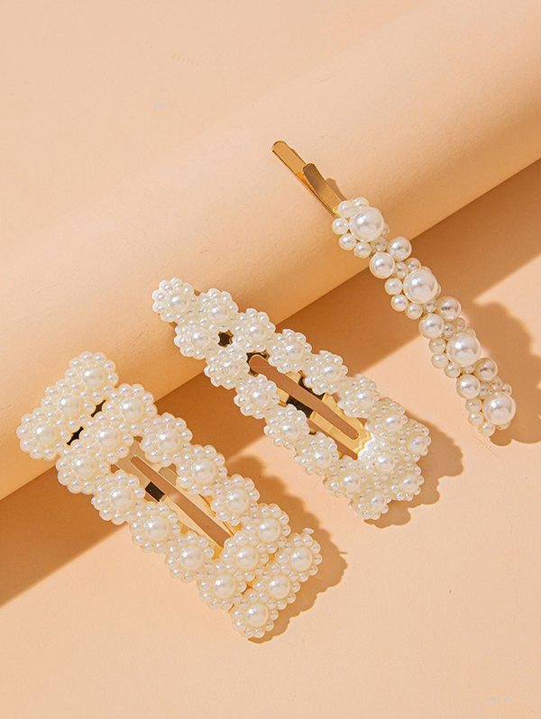 Shops 3 Piece Faux Pearl Embellished Hair Barrettes Set