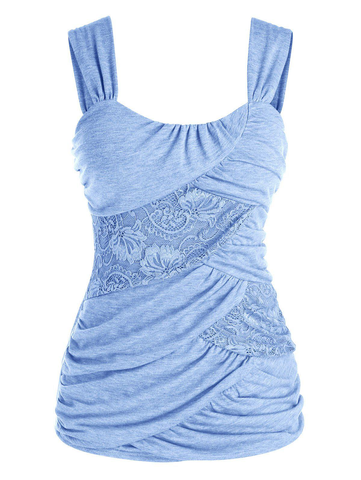 Best Plus Size Lace Insert Ruched Tank Top