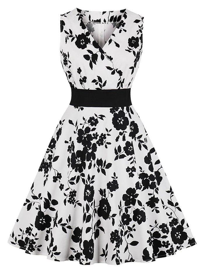 Best Floral Surplice-front Sleeveless Dress