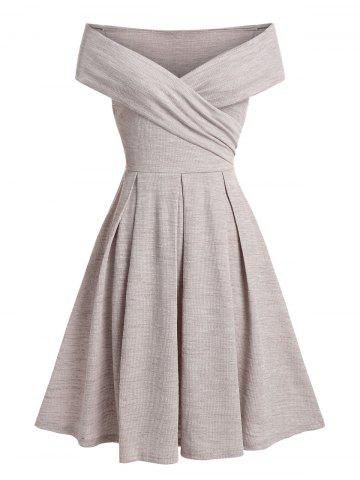 Off The Shoulder Fit And Flare Party Dress - LIGHT COFFEE - 3XL