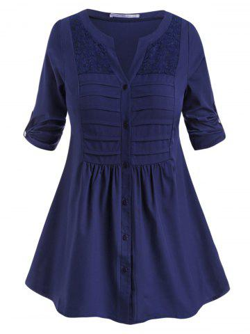 Tab Sleeve Button Up Pintuck Plus Size Blouse - DEEP BLUE - 4X