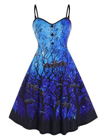 Plus Size Galaxy Branch Bat Print Backless Halloween Dress - BLUE - 2X