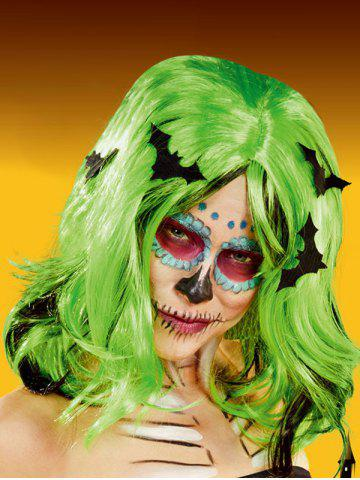 Halloween Clown Bat Medium See-through Bang Wavy Synthetic Wig - GREEN