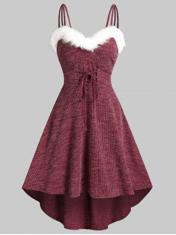 Lace Up Fluffy Trim Knitted High Low Cami Dress