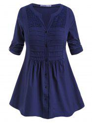 Tab Sleeve Button Up Pintuck Plus Size Blouse -