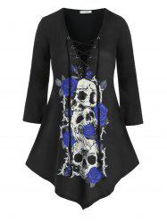 Plus Size Skull Rose Print Lace Up Halloween T Shirt -