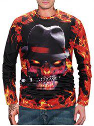 Halloween Skull Fire Flame 3D Print Long Sleeve T Shirt -