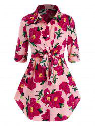 Plus Size Flower Roll Tab Sleeve Curved Hem Knotted Blouse -