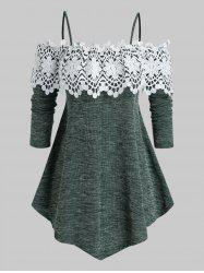 Plus Size Cold Shoulder Lace Guipure Marled Knitwear -