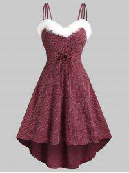 Lace Up Fluffy Trim Knitted High Low Cami Dress -
