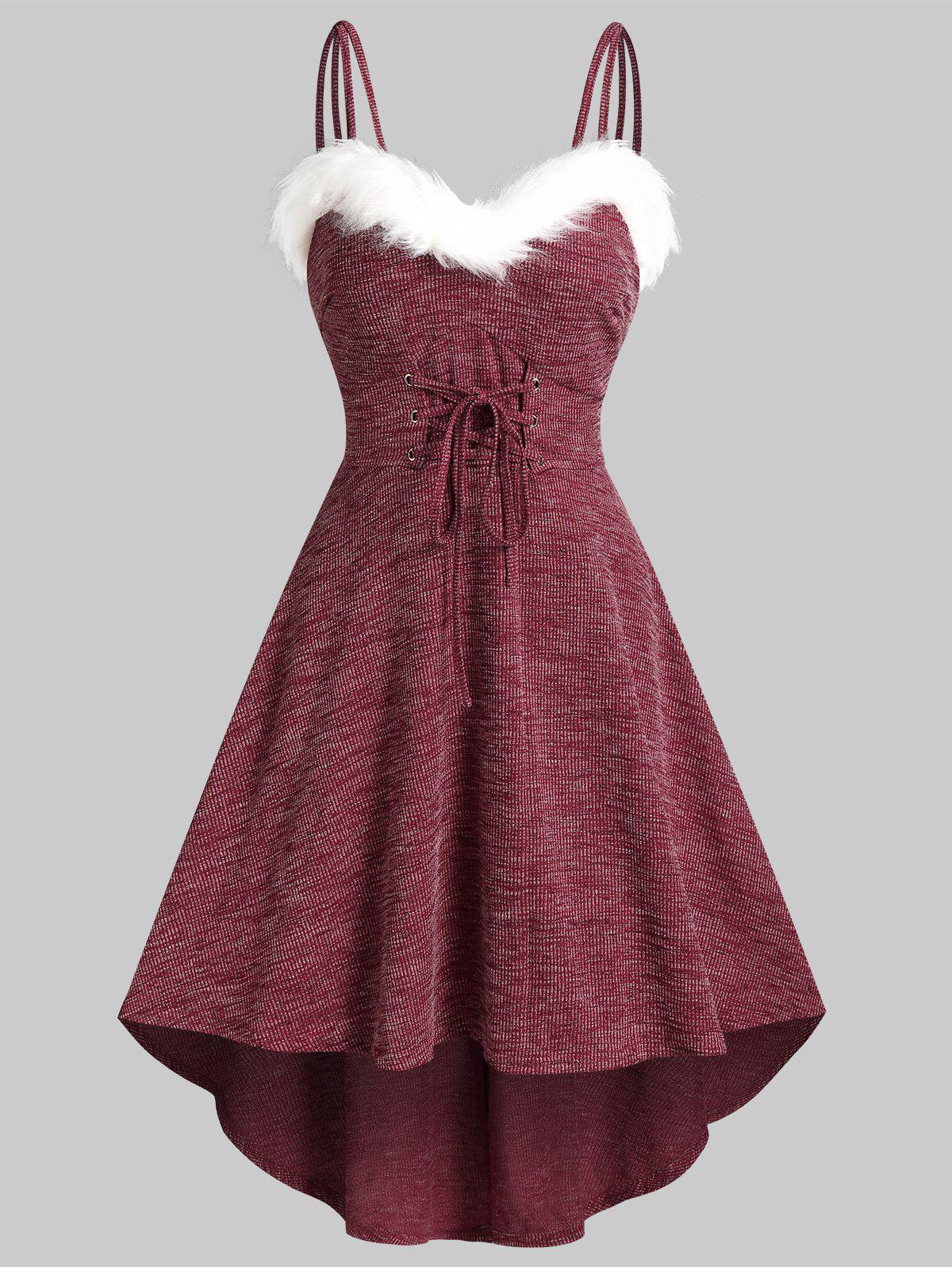 Unique Lace Up Fluffy Trim Knitted High Low Cami Dress