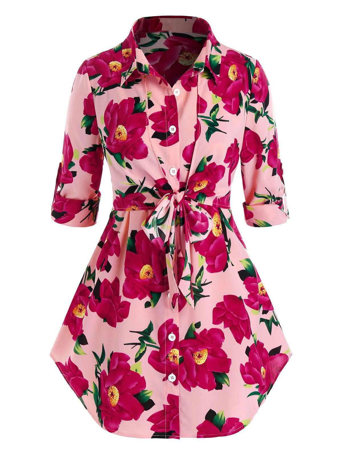 Latest Plus Size Flower Roll Tab Sleeve Curved Hem Knotted Blouse