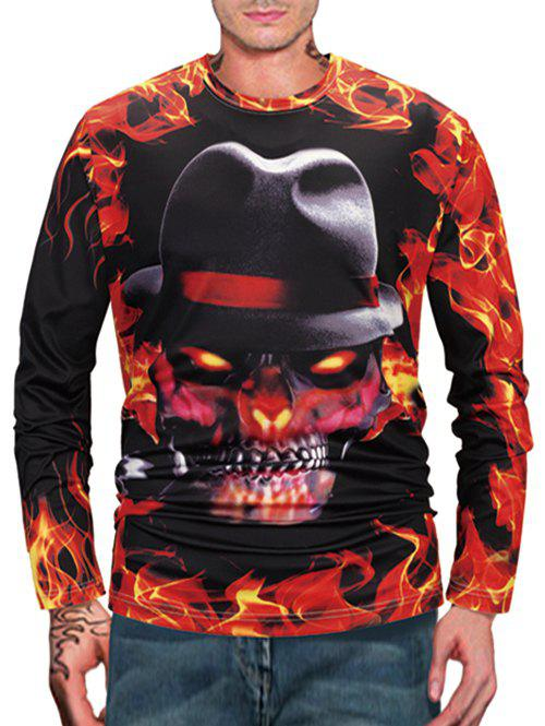 Sale Halloween Skull Fire Flame 3D Print Long Sleeve T Shirt