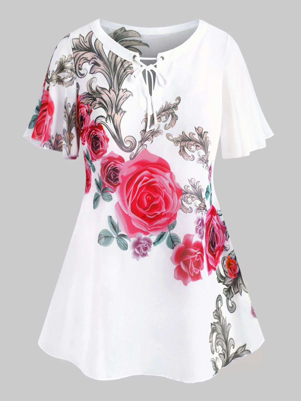 Trendy Tie Collar Floral Plus Size Chiffon Blouse