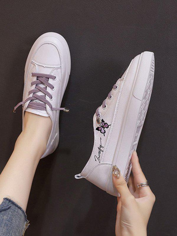 Hot Butterfly Embroidery Lace Up Flat Sports Shoes