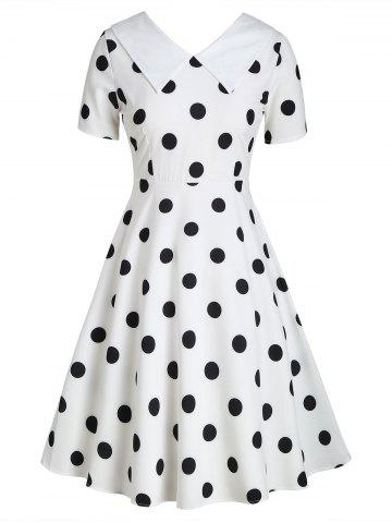 Flat Collar Polka Dot Fit and Flare Vintage Dress