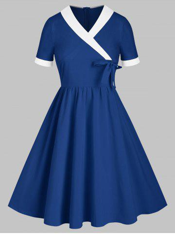 Shawl Collar Surplice Bowknot Two Tone A Line Dress