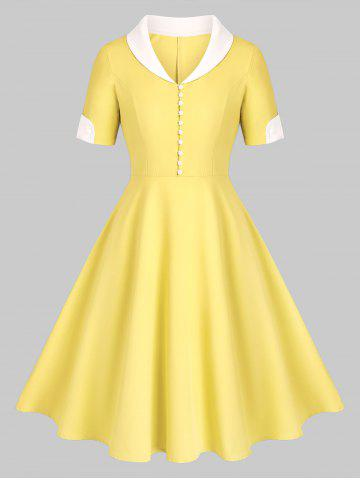 Shawl Collar Button Placket Fit and Flare Dress