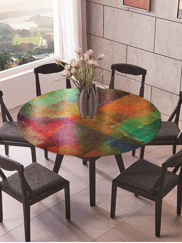 Colorblock Geometric Print Round Fabric Tablecloth