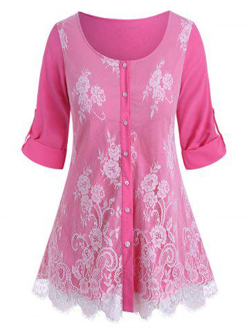 Plus Size Lace Overlay Roll Up Sleeve Blouse - LIGHT PINK - L