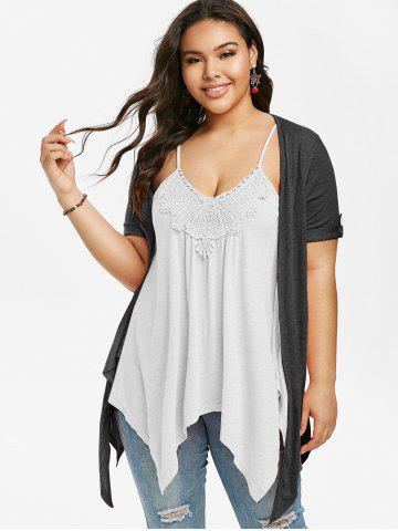 Plus Size Handkerchief Faux Twinset T Shirt