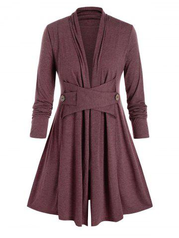 Plus Size Collarless A Line Casual Tunic Coat - RED WINE - L