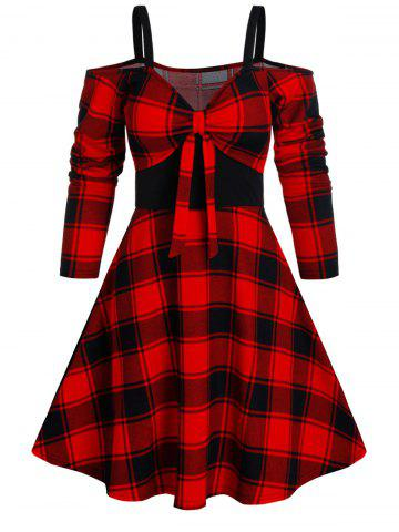 Plaid Print Cold Shoulder Knotted Vintage Dress