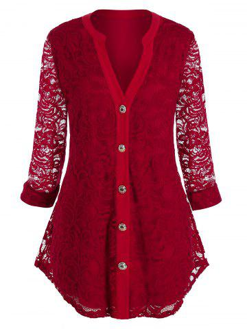 Plus Size Lace Button Up Curved Blouse - RED WINE - 1X