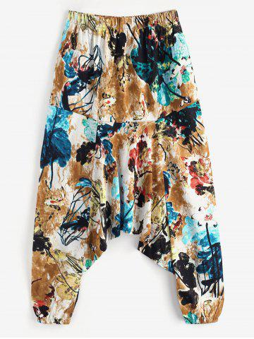 Flowers Leaves Elephant Print Casual Harem Pants