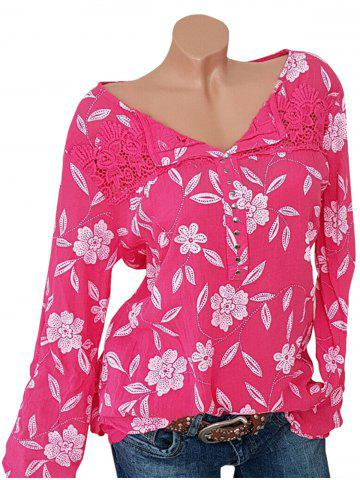 Plus Size Lace Insert Studded Floral Blouse - RED - 3XL
