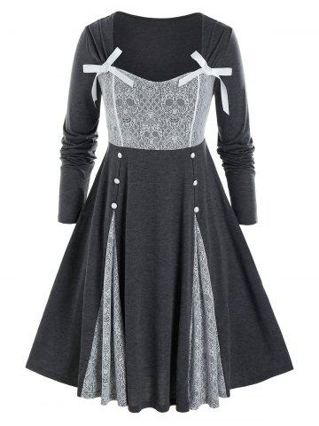 Plus Size Skull Lace Patchwork Button Dress - CLOUDY GRAY - 2X