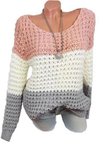 Plus Size Colorblock Chunky Sweater - LIGHT PINK - 2XL