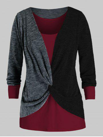Plus Size Twisted Two Tone Bicolor Sweater and Tank Top Set - BLACK - 5X