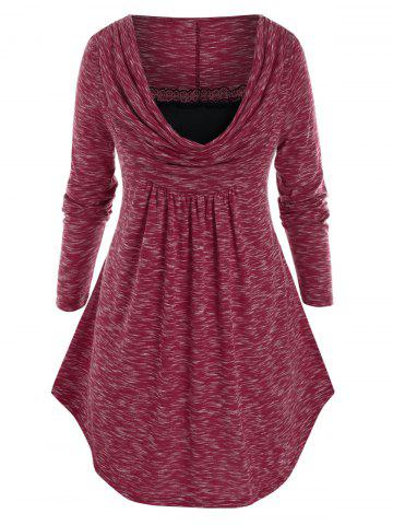 Plus Size Space Dye Cowl Front Curved Hem Lace Panel Tunic Tee - RED WINE - L