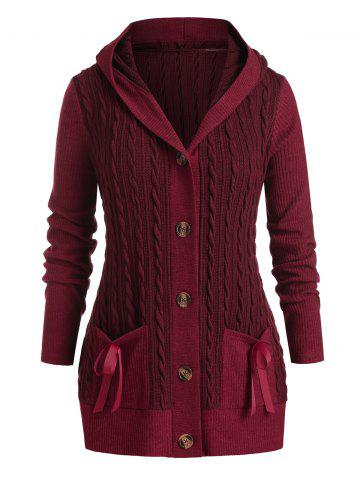 Plus Size Cable Knit Hooded Single Breasted Pocket Cardigan - RED WINE - L