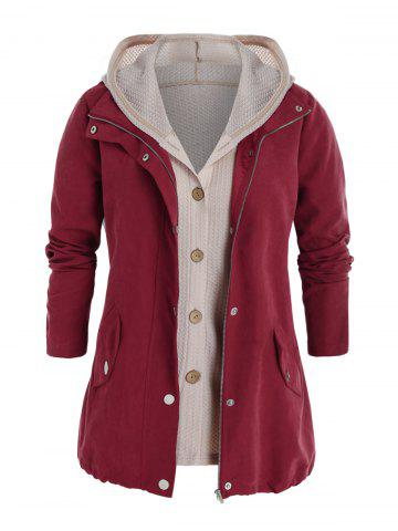 Plus Size Zipper Pocket Jacket and Button Up Knit Top Set - RED WINE - 5X