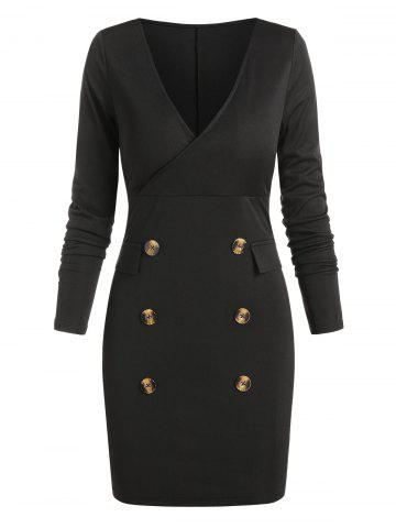 Mock Button Long Sleeve Sheath Dress