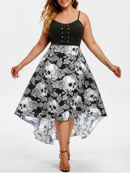 Grommet High Low Floral Skull Halloween Plus Size Dress -