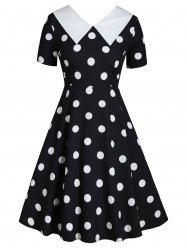 Flat Collar Polka Dot Fit and Flare Vintage Dress -