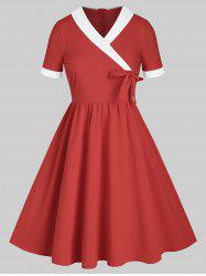 Shawl Collar Surplice Bowknot Two Tone A Line Dress -