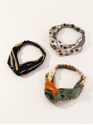 3Pcs Striped Leaf Print Elastic Headband Set -