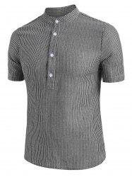 Half Button Striped Short Sleeve Shirt -