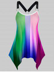 Plus Size Ombre Striped Hanky Hem Ring Linked Tank Top -
