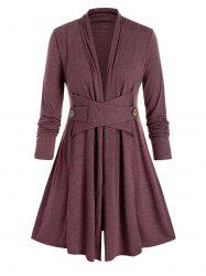 Plus Size Collarless A Line Casual Tunic Coat -